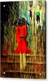Acrylic Print featuring the painting Walking In The Rain.. by Cristina Mihailescu
