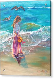 Walking In The Waves Acrylic Print