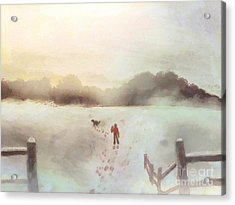 Dog Walking In Winter Acrylic Print by Pixel Chimp