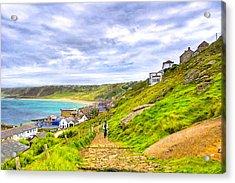Walking Into Sennen Cove On The Cornish Coast Acrylic Print by Mark E Tisdale