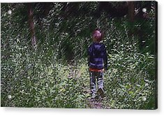 Boy Walking Into The Woods Acrylic Print by Ellen Tully