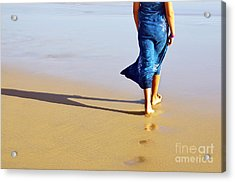 Walking On The Beach Acrylic Print by Carlos Caetano