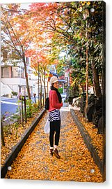 Walking On The Footpath With The Yellow Leaves Acrylic Print by Suphat Bhandharangsri Photography