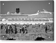Walking On The Fortification Acrylic Print by George Atsametakis