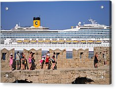 Walking On The Fortification Of The Medieval City Of Rhodes Acrylic Print by George Atsametakis