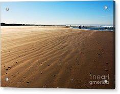 Walking On Windy Beach. Acrylic Print