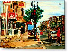 Walking Past Rialto And The Kit Kat Gift Shop Towards Pascals On Blvd. Park Avenue Montreal Scenes Acrylic Print by Carole Spandau