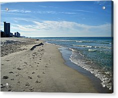 Walking The Beach Acrylic Print by Sandy Keeton