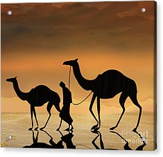 Walking The Sahara Acrylic Print by Bedros Awak