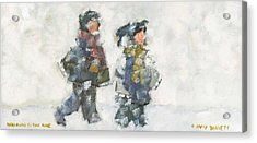 Walking To The Rink Acrylic Print by David Dossett
