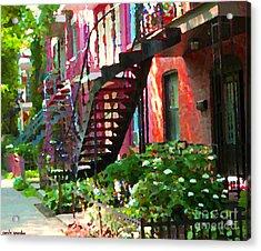 Walking Verdun Spiral Staircases Graceful Circular Steps Montreal Colorful Scenes Carole Spandau  Acrylic Print by Carole Spandau