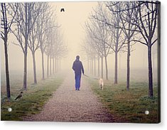 Walking With The Dog Acrylic Print by Alfio Finocchiaro