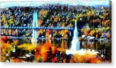 Walkway Over The Hudson Autumn Riverview Acrylic Print by Janine Riley