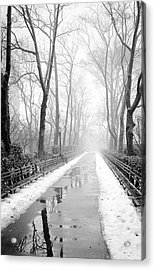 Walkway Snow And Fog Nyc Acrylic Print