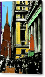 New York Pop Art In Blue Green Red Yellow Acrylic Print