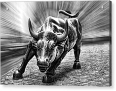 Wall Street Bull Black And White Acrylic Print