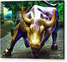 Wall Street Bull V2 Acrylic Print by Wingsdomain Art and Photography