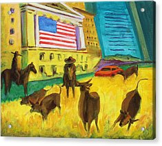Wall Street Bulls On The Run Painting By Bertram Poole Artist Acrylic Print by Thomas Bertram POOLE