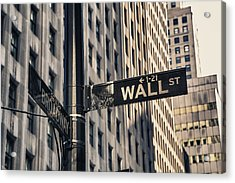 Wall Street Sign Acrylic Print by Garry Gay