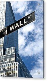 Wall Street Street Sign New York City Acrylic Print by Amy Cicconi