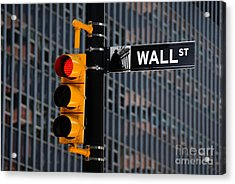 Wall Street Traffic Light New York Acrylic Print by Amy Cicconi