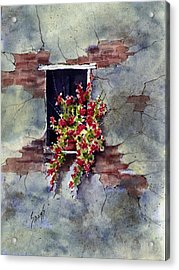 Wall With Red Flowers Acrylic Print by Sam Sidders