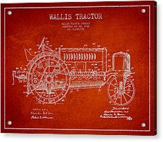 Wallis Tractor Patent Drawing From 1916 - Red Acrylic Print