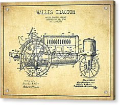 Wallis Tractor Patent Drawing From 1916 - Vintage Acrylic Print