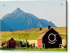 Wallowa Mountains And Red Barn In Field Acrylic Print