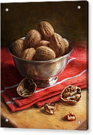 Walnuts On Red Acrylic Print