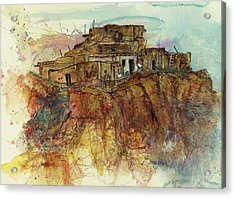 Acrylic Print featuring the painting Walpi Village First Mesa  Hopi Reservation by Elaine Elliott