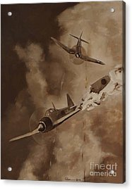 Acrylic Print featuring the painting Walsh Scores Another - Grisaille by Stephen Roberson