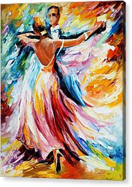 Waltz - Palette Knife Oil Painting On Canvas By Leonid Afremov Acrylic Print by Leonid Afremov