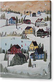 Acrylic Print featuring the painting Waltzing Snow by Virginia Coyle