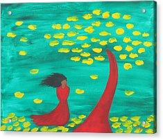 Wandering Woman In The Wind Acrylic Print