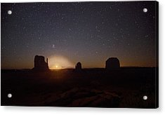 Waning Crescent Moonrise Monument Valley Acrylic Print