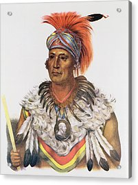 Wapella Or The Prince Chief Of The Foxes, 1837, Illustration From The Indian Tribes Of North Acrylic Print by Charles Bird King
