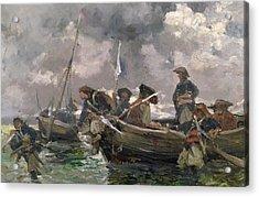 War Scene At Sea Acrylic Print by Paul Emile Boutigny