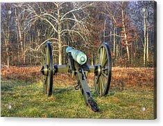Acrylic Print featuring the photograph War Thunder - 1st New York Light Artillery-a1 Battery D The Wheatfield Gettysburg by Michael Mazaika