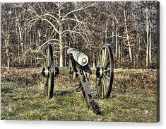 Acrylic Print featuring the photograph War Thunder - 1st New York Light Artillery-a2 Battery D The Wheatfield Late Winter Gettysburg by Michael Mazaika