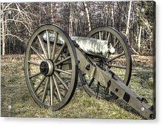 Acrylic Print featuring the photograph War Thunder - 1st New York Light Artillery-c1 Battery D The Wheatfield Late Winter Gettysburg by Michael Mazaika