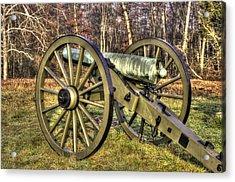Acrylic Print featuring the photograph War Thunder - 1st New York Light Artillery-c2 Battery D The Wheatfield Late Winter Gettysburg by Michael Mazaika