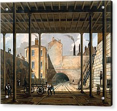 Warehouses Etc At The End Of The Tunnel Acrylic Print by Thomas Talbot Bury