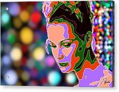 Warhol Style Portrait Acrylic Print by Ze  Di