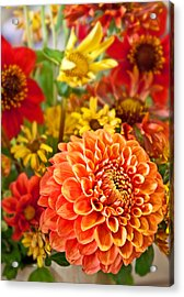 Warm Colored Flower Bouquet With Round Dahlia Acrylic Print by Valerie Garner