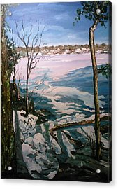 Acrylic Print featuring the painting Warm Snow In The Sassaquin Pond-neighborhood by Ray Khalife