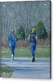 Warner Park Runners Acrylic Print by Sandra Harris