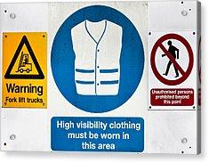 Warning Signs Acrylic Print by Tom Gowanlock