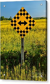 Warning - Yellow On Both Sides Acrylic Print by Henry Kowalski