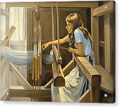 Warping The Loom  Acrylic Print by Paul Krapf